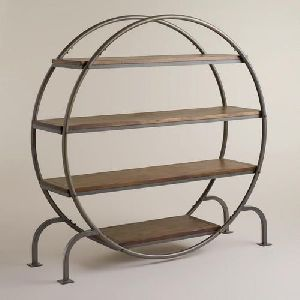 Round Wood and Metal Bookcase