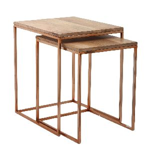 Wood and Metal Nesting Table