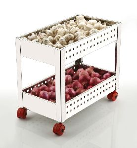 2 Layer Stainless Steel Perforated Vegetable Trolley