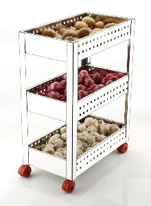 3 Layer Stainless Steel Perforated Vegetable Trolley