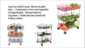 3 Layer Stainless Steel Trolley