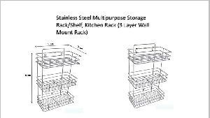 3 Layer Stainless Steel Wall Mounted Rack