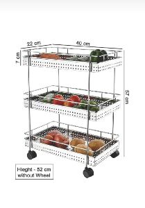 3 Layer Stainless Steel Wire Perforated Vegetable Trolley