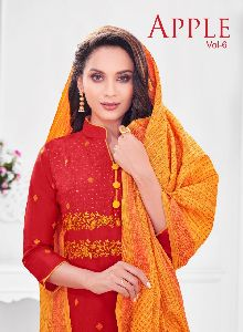 APPLE VOL 6 SOUTH COTTON CHECK WITH WORK FANCY DESIGNER SALWAR SUITS WHOLESALE DEALER SURAT