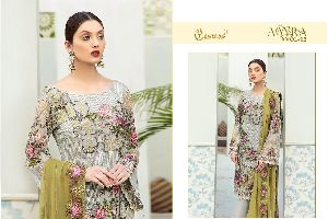 COSMOS FASHION PRESENTS AAYRA VOL 12 FOX GEORGETTE WITH HEAVY EMBROIDERY WORK PAKISATNI SUITS WHOLES