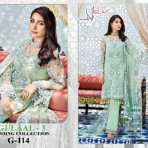 GALAXY FAB ELAF PRESENTS GULAAL VOL 3 BUTTERFLY NET WITH SEQUENCE EMBROIDERY WORK PAKISATNI SUITS