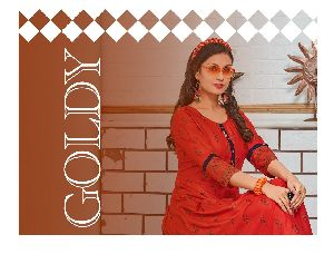 TRENDY LAUNCHED GOLDY RAYON FANCY DESIGNER FROCK STYLE LONG KURTIS WHOLESALE DEALER SURAT