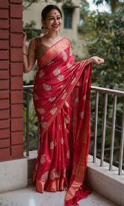 Handloom Tussar Munga Silk Embroidery Saree