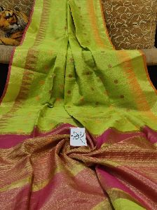 Temple Border Tissue Linen Saree