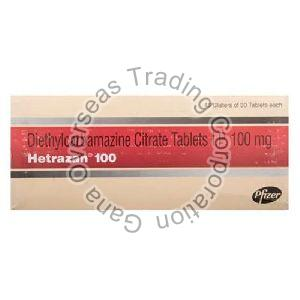 Hetrazan diethylcarbamazine citrate 100mg Tablets