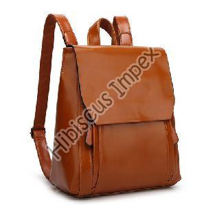 Plain Leather Backpack