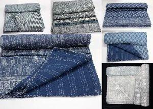Cotton Block Print Kantha Blanket