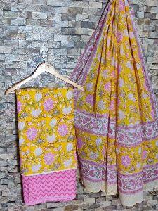 Hand Block Printed Cotton Suit With Mulmul Cotton Dupatta