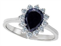 Black PEAR SHAPE Moissanite Diamond Ring