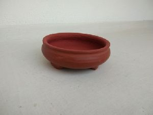 Red Round Bonsai Pot