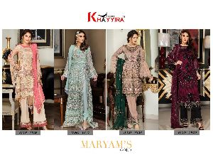 Khayyira Suits Maryams Gold Georgette Pakistani Style Embroidered Suits