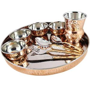 Copper Steel Food Serving Thali