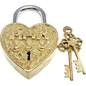 Heart-Shape Padlock with 2 Skeleton Keys Fully Functional with 2 Keys - Gym Lock