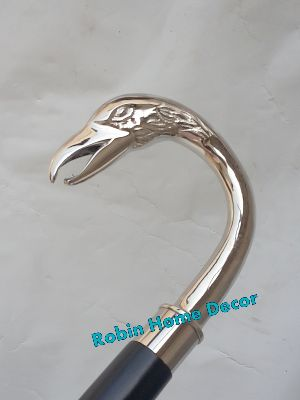 Antique Silver Designer Swan Face Handle Wooden Vintage Walking Cane Style Stick