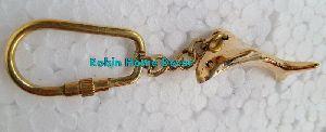 Brass Dolphin Keychain