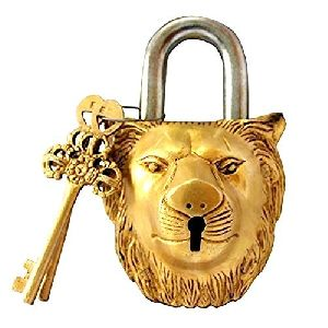 Brass Padlock - Lock with Keys - Working Functional - Brass Made - Type  (Lion - Brass Finish)
