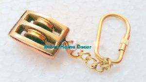 Brass Pulley Keychain