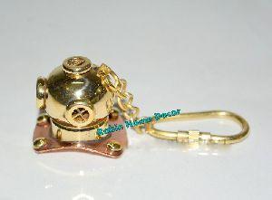 Nautical Diving Helmet Brass Keychain