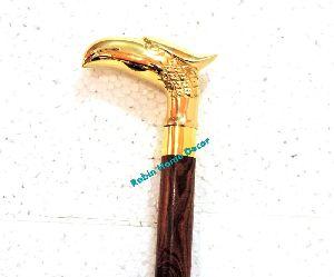 Vintage Cane Walking Stick Handle Eagle Head Cast Brass Wooden Walking Stick