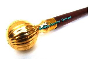 Walking Stick Cane Musekmelon Style Handle Solid Brass Plated Wooden Walking Stick