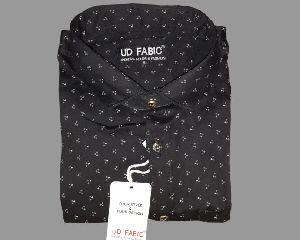 Mens Black Printed Shirt