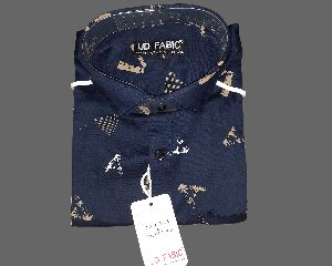 Mens Blue Printed Shirt