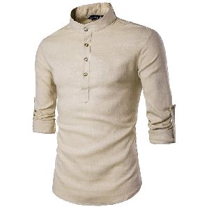 Mens Cream Short Kurta