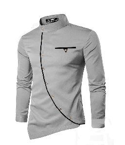 Mens Grey Cotton Kurta