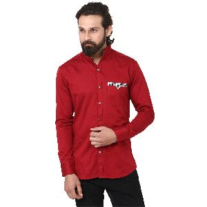 Mens Maroon Formal Shirt