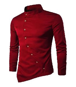 Mens Maroon Plain Shirt
