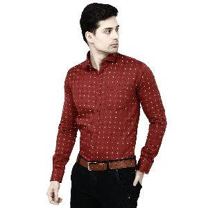 Mens Maroon Printed Shirt