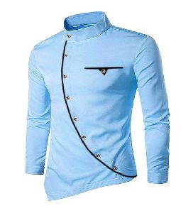 Mens Sky Blue Cotton Kurta