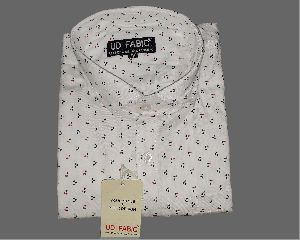 Mens White Printed Shirt