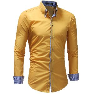 Mens Yellow Cotton Shirt