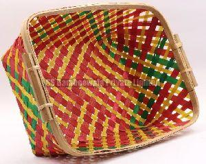 Rectangular Side Handle Bamboo Basket