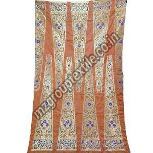 Orange Unstitched Banarasi Lehenga