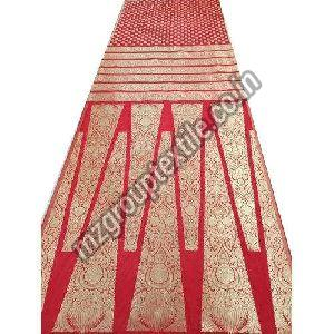 Red Unstitched Banarasi Lehenga