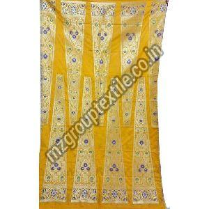 Yellow Unstitched Banarasi Lehenga
