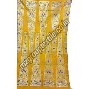 Yellow Unstitched Banarasi Lehenga