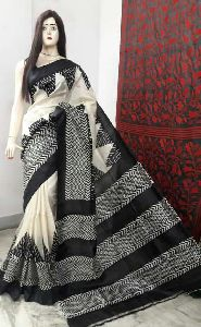 Block Print Pure Silk Saree