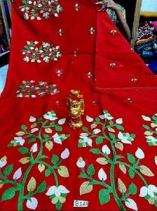 Silk Cotton Embroidered Saree