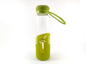 Silicone Glass Water Bottle(green/orange)