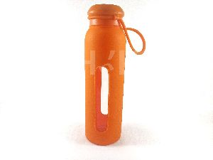 Silicone Glass Water Bottle(Orange)