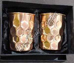 Copper Diamond Design Glass Set