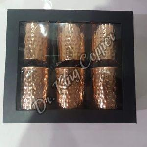 Copper Hammered Glass Set